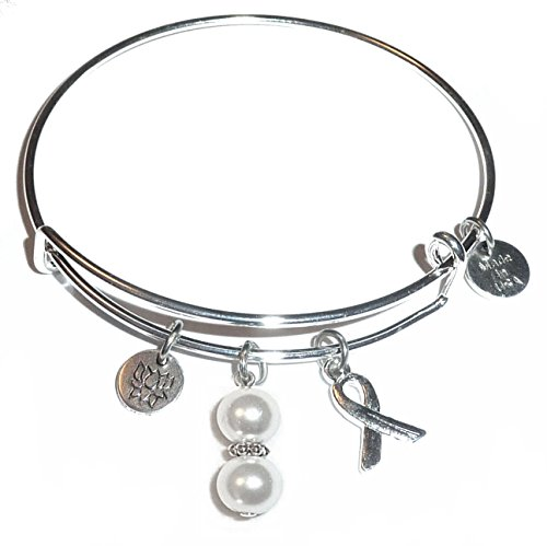 Pearl Breast Cancer Awareness Bracelet - Cancer Awareness (Hope for the Cure) Expandable Wire Bangle Bracelet, Comes in a GIFT BOX! (Lung Cancer (White Pearl))
