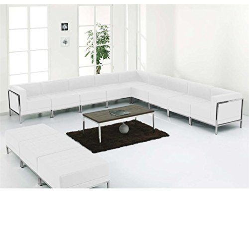 Flash Furniture HERCULES Imagination Series Melrose White Leather Sectional & Ottoman Set, 12 Pieces