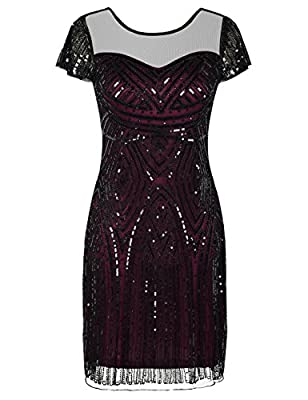 PrettyGuide Women's Gatsby Dress 1920s Bead Sequin Deco Cocktail Flapper Dress