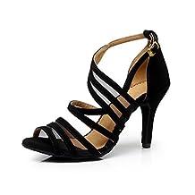 TDA QJ7036 Women's Fashion Strappy Suede Ballroom Latin Tango Dance Shoes