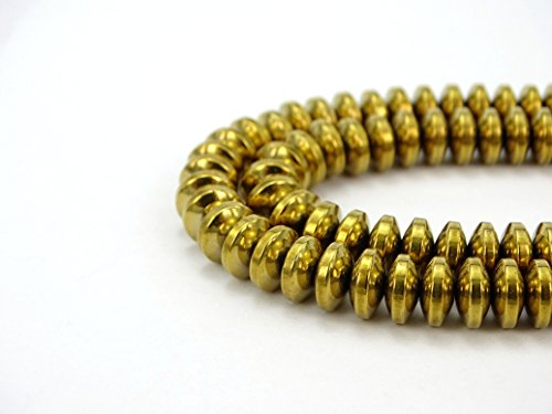 jennysun2010 3x6mm Non-Magnetic Gold Hematite Gemstone Rondelle Spacer Beads 15.5'' Inches Smooth 1 Strand for Bracelet Necklace Earrings Jewelry Making Crafts Design Healing