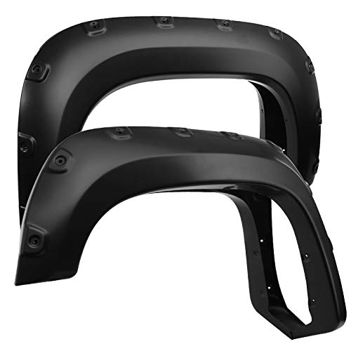 Carpartsinnovate For 07-13 GMC Sierra 1500 Fleetside Pickup Pocket Rivet Bolt-On Style Fender Flares