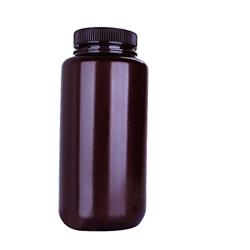 KOKEE Amber Round Wide Mouth Bottles 1000ml , HDPE Chemicals Storage Reagent Bottle