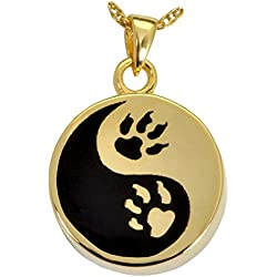 Memorial Gallery Pets 3551GP Paw Print Yin Yang 14K Gold/Silver Plating Cremation Pet Jewelry