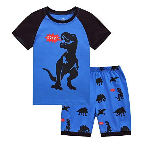 - RKOIAN Little Boys Short Pajamas Sets Toddler PJS Cotton Kids Sleepwears (Roar Dinosaur, 2T)