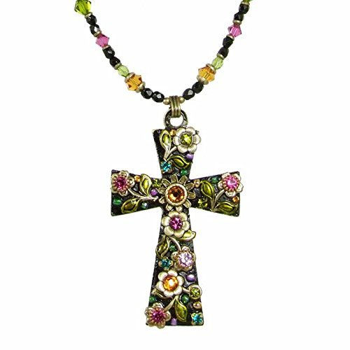 Large Midnight Garden Cross Necklace with a Dark Floral Design. Multi-Color Swarovski Crystals and Gold Flowers Embedded Throughout. A Spiritual Statement Piece.