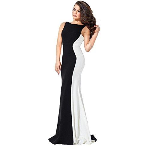JVN by Jovani Womens Colorblock Open Back Formal Dress B W 2 182c6aaff