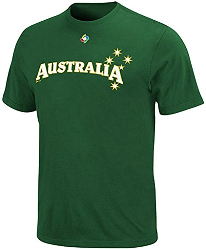 Majestic Team Australia 2013 World Baseball Classic Official Wordmark T Shirt Adult Sizes (2XL) ()