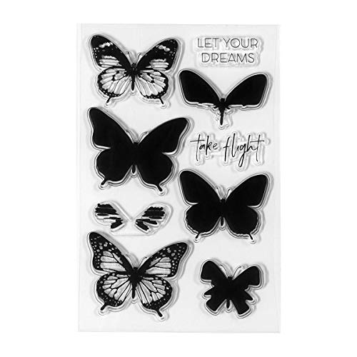 Spellbinders STP-003 Clear Acrylic Stamps-Layered Butterflies