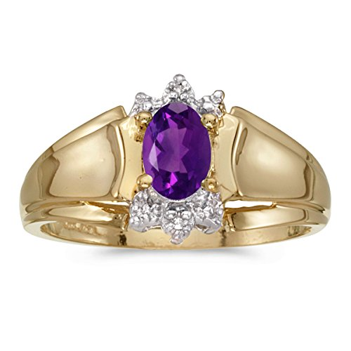 - 0.34 Carat (ctw) 14k Yellow Gold Oval Purple Amethyst and Diamond Accent Anniversary Fashion Ring (6 x 4 MM) - Size 6