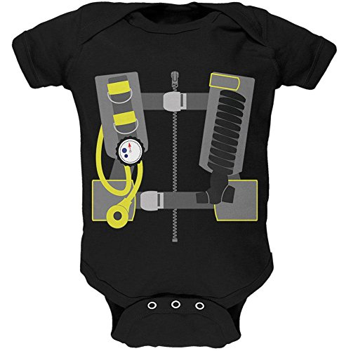 Diver Suit Costume (Halloween - Scuba Diver Costume Soft Baby One Piece Black 3-6 M)