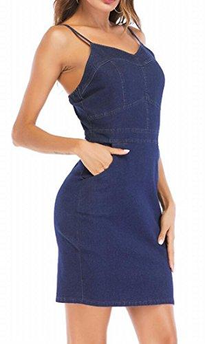 Pockets Denim Women Party Slip Bodycon Strap Dress Domple Blue Slim Mini Fit Spaghetti xngwzH