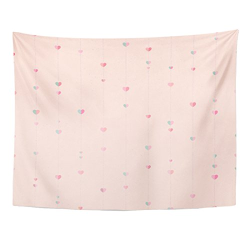 TOMPOP Tapestry Pink Polka Heart Pattern Starry Perfect for