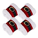 CHICTRY 4Pcs Christmas Napkin Rings Plush Santa Belt Napkin Rings Holder Wrap Party Banquet Dinner Table Decorations