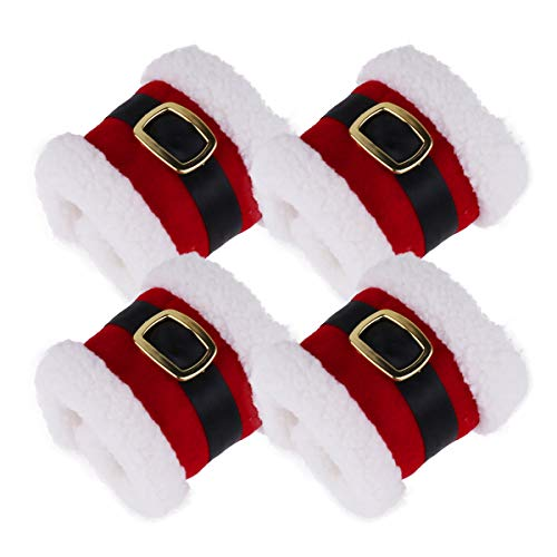 Santa Napkin Ring - CHICTRY 4Pcs Christmas Napkin Rings Plush Santa Belt Napkin Rings Holder Wrap Party Banquet Dinner Table Decorations