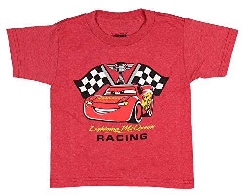 Disney Lightning McQueen Shirt Cars Piston Cup Racing Costume Toddler Tee 2T Red Heather -
