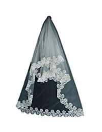 SI PEI One Layer Bridal Veils Color White and Ivory Accessories
