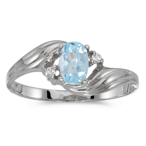 0.31 Carat ctw 10k Gold Oval Aqua Aquamarine & Diamond Bypass Swirl Cocktail Anniversary Fasion Ring - White-gold, Size 7 ()