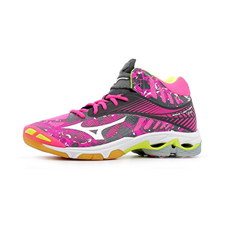 Shoes Blanc blanc Z4 Volleyball Mizuno Women's rose Mid Rose gris Gris Lightning Wave WOS vn6a0