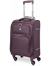 "22x14x9"" Carry On MAX Lightweight Upright Travel Trolley Bags Luggage Suitcase, 4 Wheel Spinner, Maximum Allowance (Purple)"