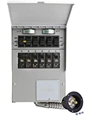 Reliance Controls 306A 30-Amp 6-Circuit Manual Transfer Switch/Meters, Power Inlet