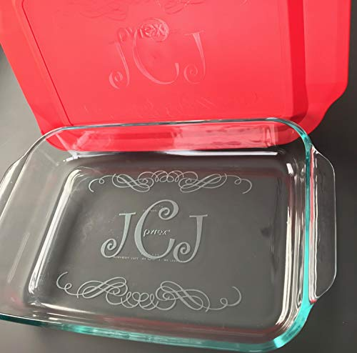 Custom Engraved Etched Printed Personalized Monogram 9 inch x 13 inch Large Casserole Dish