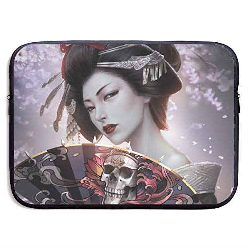 Classic Black Water Repellent Neoprene Laptop Sleeve Bag Cover Case Compatible 13 15 Inch, Computer Netbook Notebook Skin - Fantasy Geisha Gothic Kimono Skull Woman