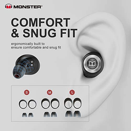 Monster Wireless Earbuds,Super Fast Charge,Bluetooth 5.0 in-Ear Stereo Headphones with USB-C Charging Case,Built-in Mic for Clear Calls,Water Resistant Design for Sports,Black.