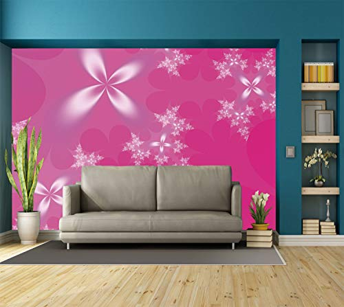 Large-Wall-Mural-Sticker-Hot-PinkVibrant-Floral-Arrangement-on-an-Abstract-Hot-Pink-Background-Modern-Design-DecorativeHot-Pink-White-Self-adhesive-Vinyl-Wallpaper-Removable-Modern-Decorating
