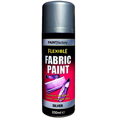 Flexible Fabric Spray Paint Silver 200ml for Leather Vinyl and Fabric
