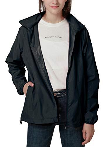 Spmor Women's Lightweight Jackets Waterproof Windbreaker Jacket UV Protect Running Coat M Black