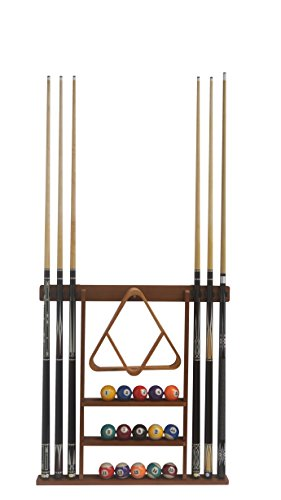 Pool Cue Wall Rack - Flintar Wall Cue Rack, Stylish Premium Billiard Pool Cue Stick holder, Made of Solid Hardwood, New Improved Wall Mounting Hardware L Bracket Included, Cue Rack Only, Oak Finish