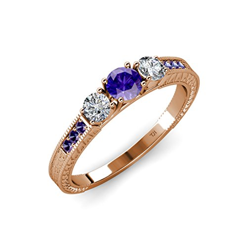 TriJewels Iolite and Diamond 3 Stone Ring with Side Iolite 0.80 ct tw 14K Rose Gold.size 9.0