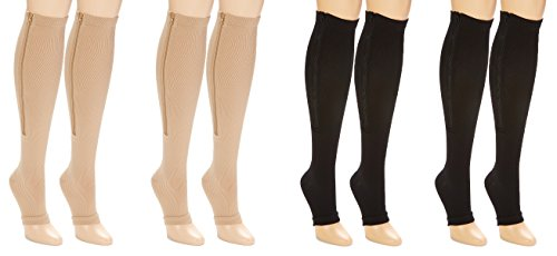 Unisex Moderate Compression Knee High 4-Pack Open Toe Zipper Stockings (S/M) Fluid Womens Skis
