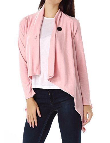 Bepei Women One Button Wrap-Style Cardigan Pink (One Button Swing Jacket)