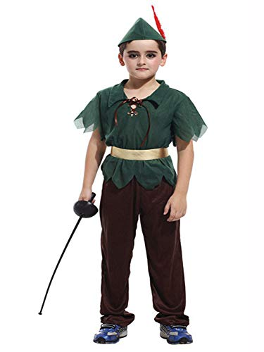 stylesilove Kid Boys Halloween Costume Cosplay Outfit Themed Birthdays Party (Forest Peter Pan, XL/10-12 Years)