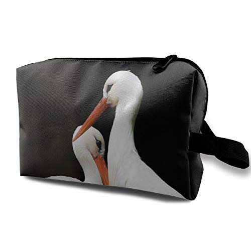 (LEIJGS Two Long Bill Bird Small Travel Toiletry Bag Super Light Toiletry Organizer for Overnight Trip)