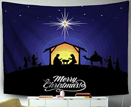 Asdecmoly Easter Tapestry Printing Wall Hanging Tapestries for Living Room and Bedroom 60 Lx50 W Inches Biblical Christmas Story The Baby Jesus Nativity Scene Near City The Art Printing -