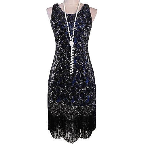 Vijiv 1920s Gastby Sequined Embellished Fringed Paisley Flapper Dress Blue XL