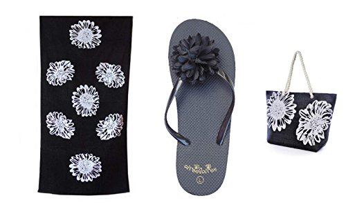 Bolsa de Playa Para Mujer + Toalla de Playa + Chanclas 3 Piezas Floral Airee Fairee Negro EU 36-37