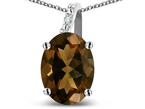 Star K 10k Gold Oval 9x7 Genuine Smoky Quartz Journey Pendant Necklace
