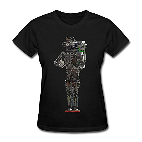 (ruihua Women's Boston Dynamic Iron Robot T-shirt S Black)
