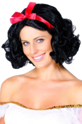Smiffys Women's Fairytale Wig with Ribbon Short and Wavy, Black, One Size]()