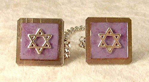 Star of David Copper-Enameled Purple Tallit - Tallit Clip Star