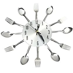 Perfectii Wall Clock, 3d Stainless Steel Knife Fork Spoon Analog Wall Clock Home Decoration For Kitchen Living Room Bedroom