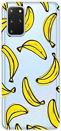 Herbests Kompatibel mit Samsung Galaxy S20 Plus Hülle Silikon Case Transparent Silikon Schutzhülle mit Tiere Muster Ultradünn Stoßfest Rückschale Tasche Crystal Clear Soft Case,Banane