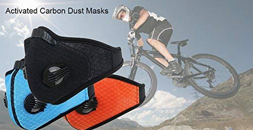 Activated Carbon Dustproof/Dust Mask - Filter Cotton Sheet and Valves for Exhaust Gas, Pollen Allergy, PM2.5, Running, Cycling, Outdoor Activities (Black+Orange) by Tunity (Image #6)