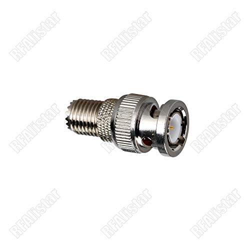 Gimax BNC Male plug to Mini UHF Female Jack Center RF Coaxial Adapter Connector Brass Nickel