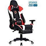 Ficmax Gaming Chair Racing Style Chair Ergonomic Swivel Chair Seat Height Adjustment Computer Chair for Gamer, High back Large Size Home Office Desk Chair with Massage Lumbar Support and Retractable Footrest (Red/White)