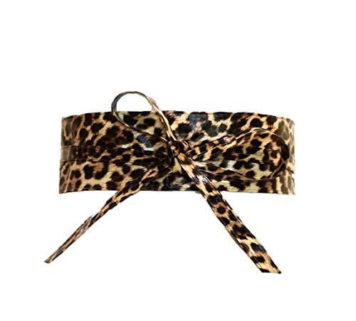 Women's Wide Lace, Faux Leather Self Tie Wrap Obi Waist Belt (2 Style) (Leopard Print)